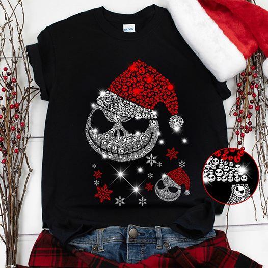 Jack Skellington The Nightmare Before Christmas Merry Xmas Black T-Shirt Size S-5XL