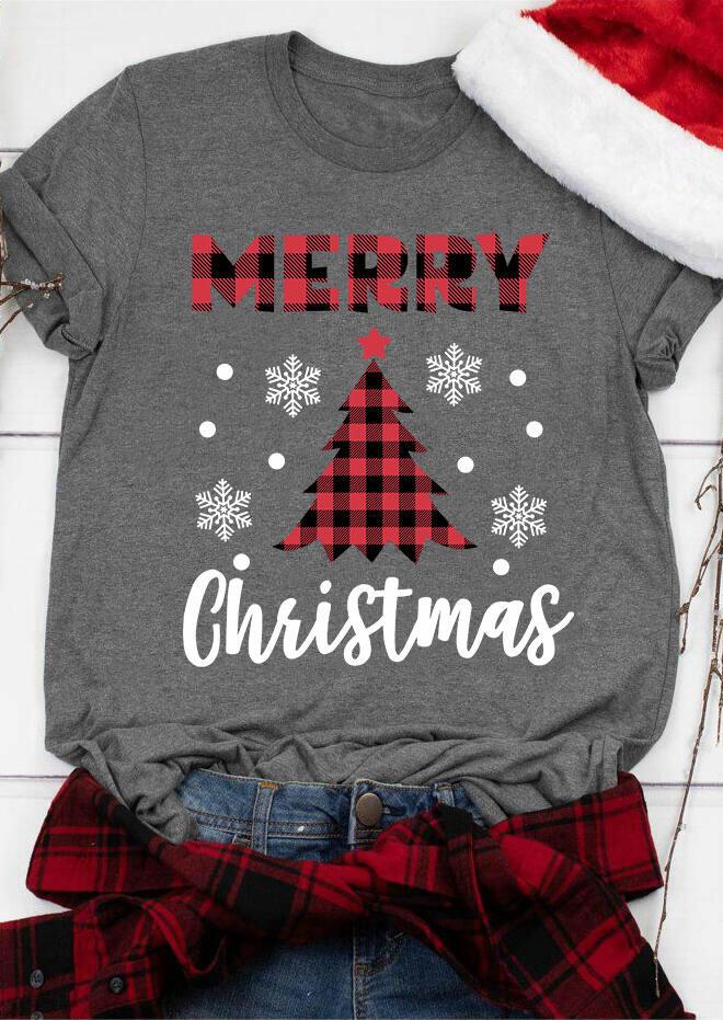 Plaid Splicing Merry Christmas Snowflake T-Shirt Tee - Gray