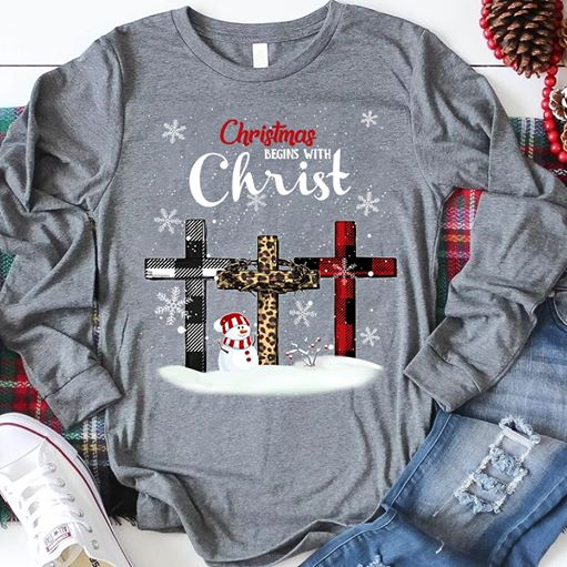 Christmas Begins with Christ Short Sleeve X-Mas Gift Shirt Size S-5XL