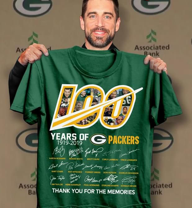 100 Years of Green Bay Packers 1919-2019 All Signatures Thank You for The Memories Mens T-Shirt Size S-5XL