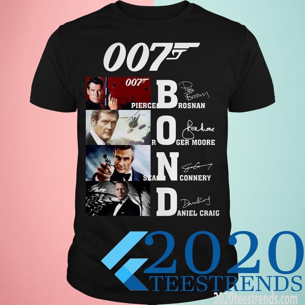 007 Pierce Brosnan Roger Moore Sean Connery Daniel Craig Signature Unisex T Shirt Size S-5XL