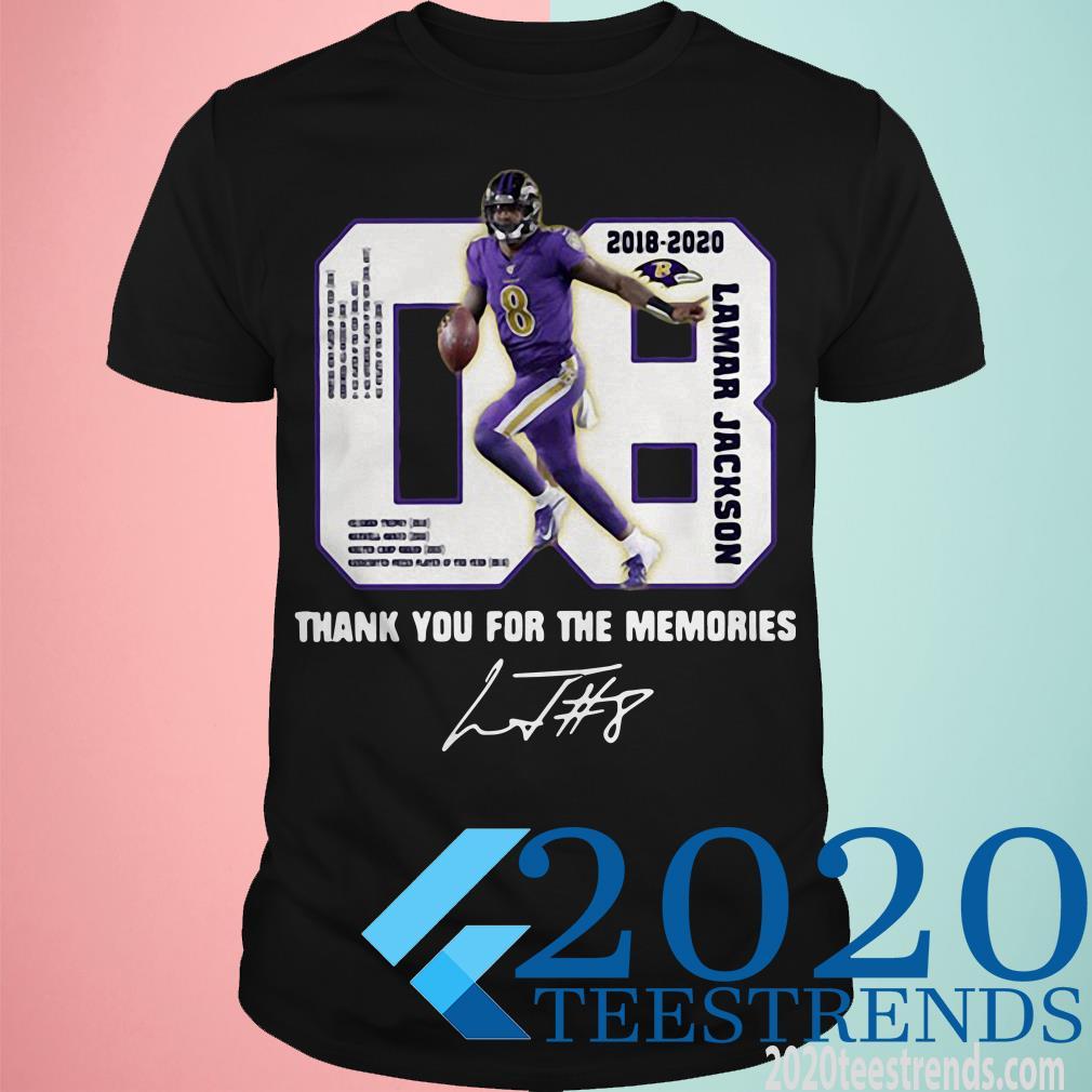 08 Lamar Jackson 2018-2020 Thank You For The Memories Signature Unisex T Shirt Size S-5XL