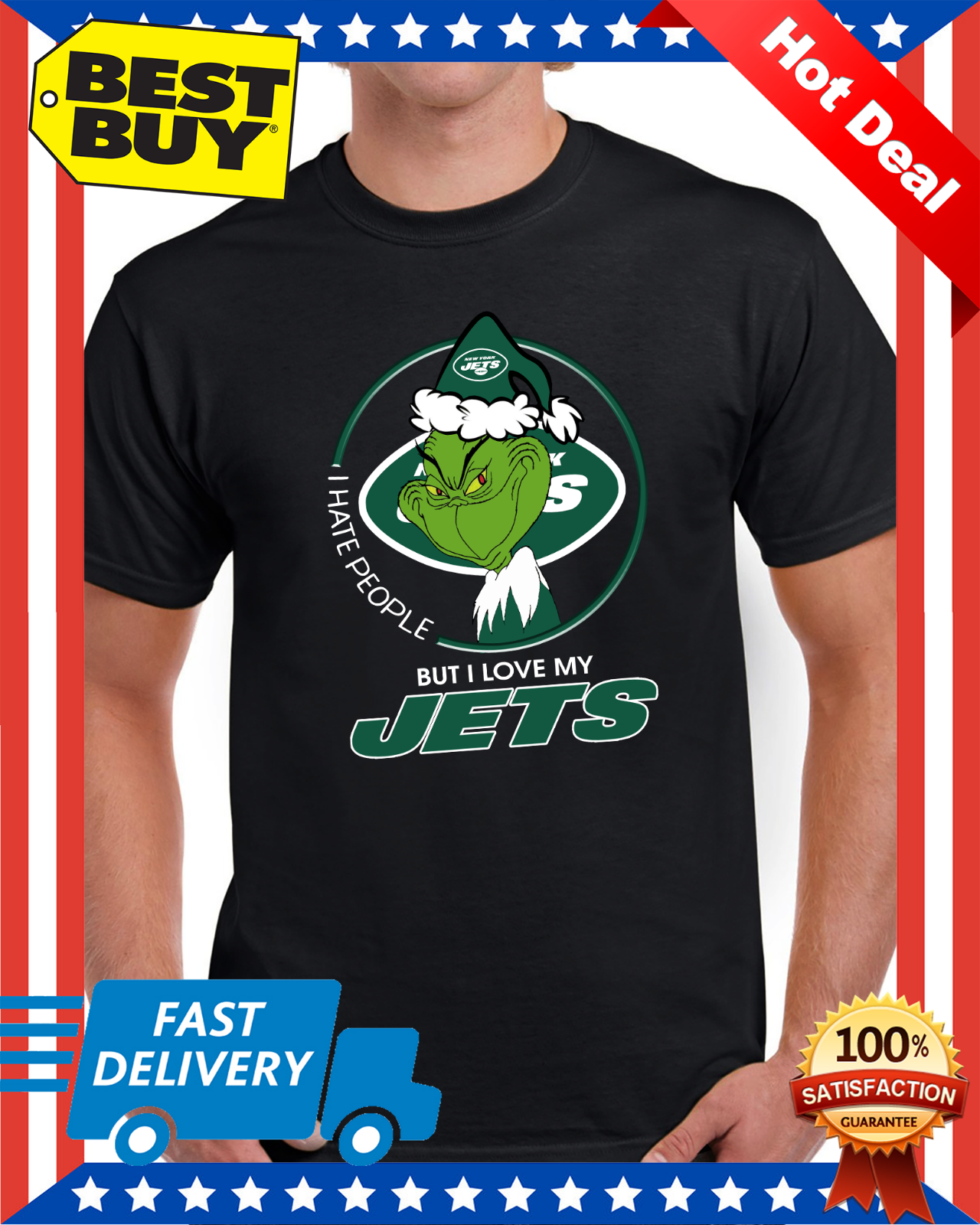 I Hate People But I Love My New York Jets Grinch NFL T-Shirt Regular Size M-3XL