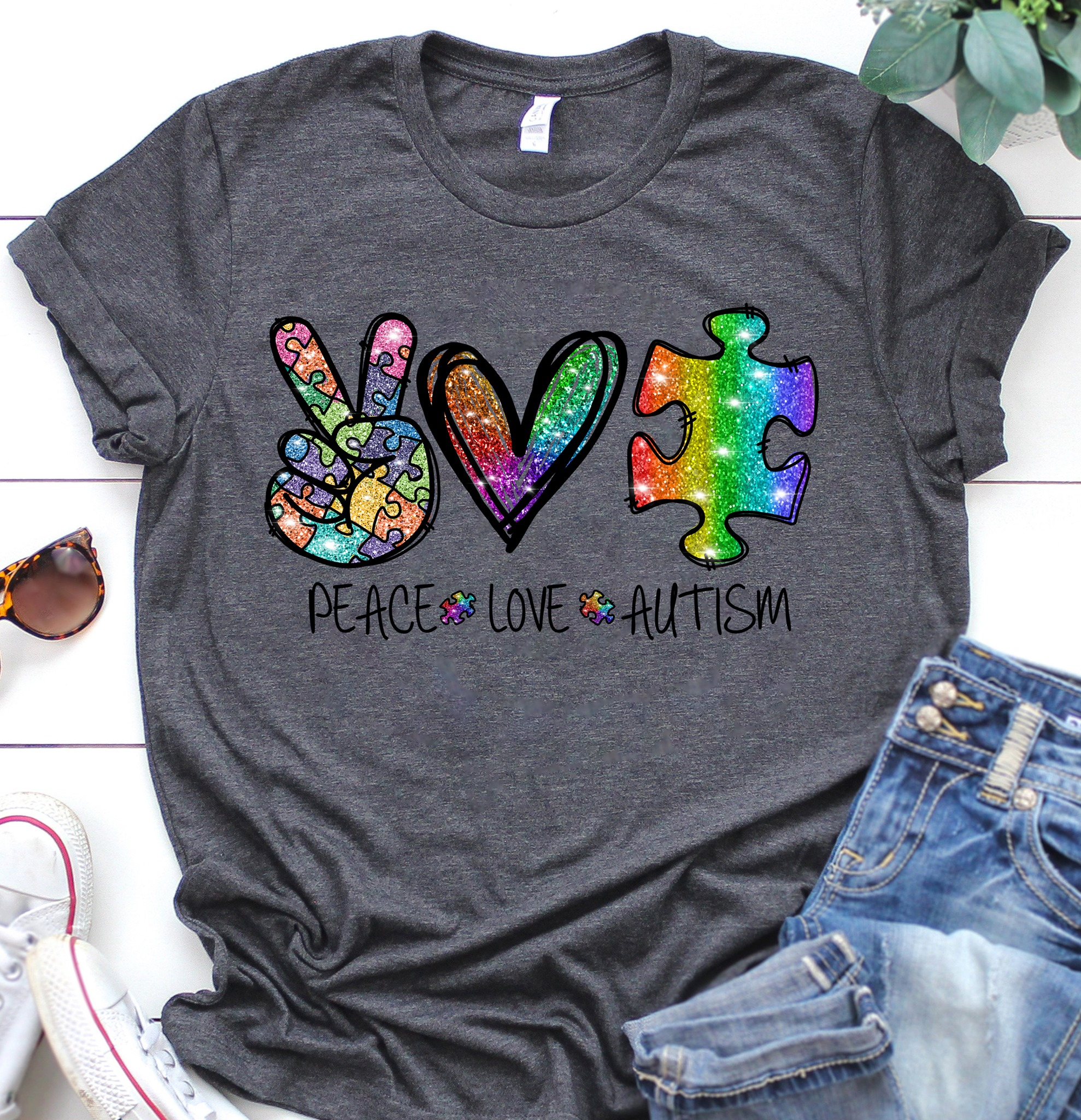 Peace Love Autism Unisex T-Shirt All Color Size Up To 5XL